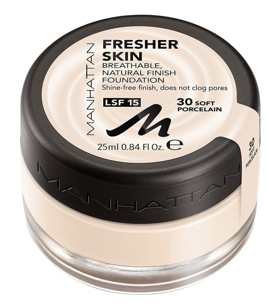 3xManhattan Fresher Skin Foundation 30Soft Porcelain je 25ml