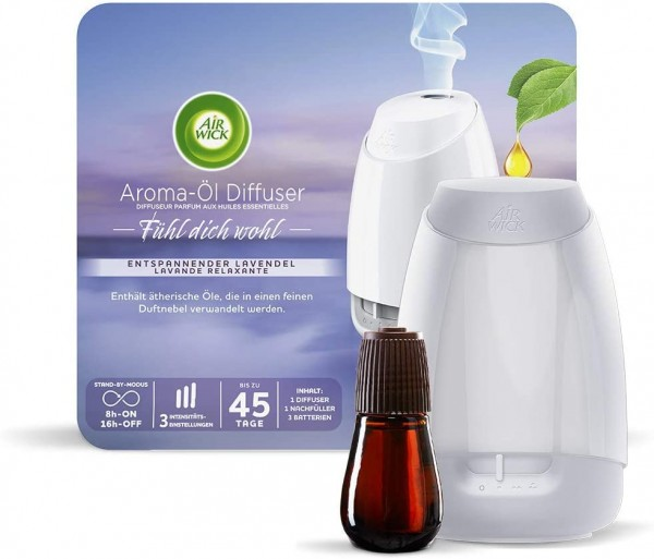Air Wick Aroma-Öl Diffuser Fühl Dich Wohl Starter-Set Lavendel 20 ml Weiß