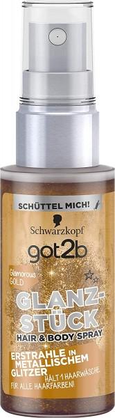 3 x Schwarzkopf got2b Glanzstück Glamorous Gold Hair & Body Spray je 50ml