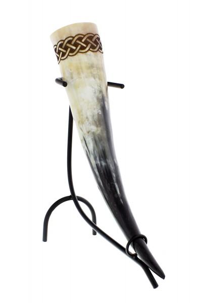 Trinkhorn Knut 0,5 Liter mit einfachem eingebrannten Knotenmuster