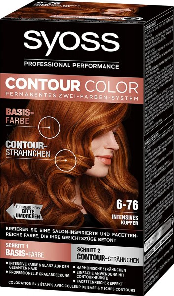 3x Syoss Contour Color 6-76 Intensives Kupfer Zwei-Farben-System
