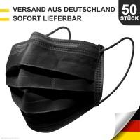 50 x Atemschutz Masken Mundschutz Hygienemaske 3 Lagig Einwegmaske Schwarz