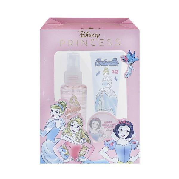 Disney Princess Geschenk Set Duschgel 100ml & Körperspray 100ml & Lippen Balsam 10g