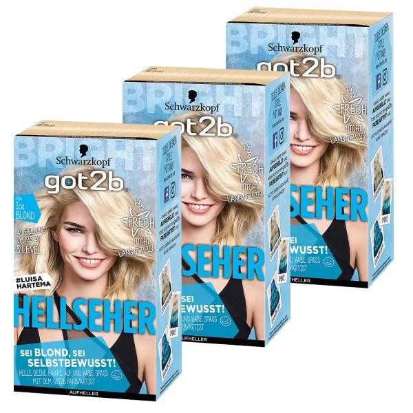 3 x Schwarzkopf Got2b Hellseher 00A Ice Blond Haarfarbe je 142,5 ml Aufheller