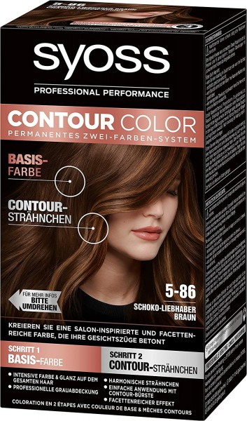 3 x Syoss Contour Color Zwei-Farben System 5-86 Schoko-Liebhaber Braun je 183 ml