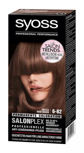3 x Syoss Salonplex Permanente Coloration 6-82 Helles Rose Braun