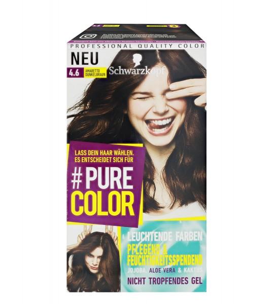 3 x Schwarzkopf Pure Color 4.6 Amaretto Dunkelbraun Gel Coloration
