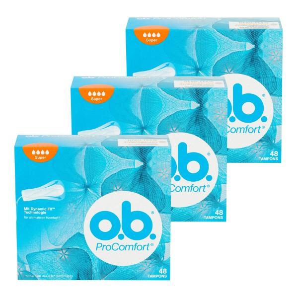 3 x o.b. Tampons ProComfort Super je 48 Stück Mit Dynamic Fit Technologie