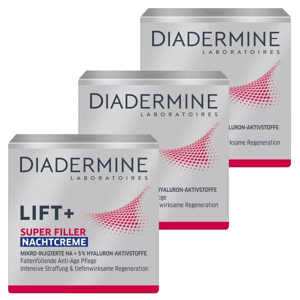 3xDiadermine LIFT+Super Filler Nachtcreme Faltenfüllende Anti-Age Pflege je 50ml