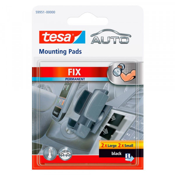 3x tesa Auto Fix MontagePad permanent schwarz je 2x large + 2x small
