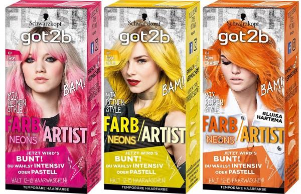 3 x Schwarzkopf Got2b Farb Artist Haarfarbe 80ml Neon,- Pink, Gelb oder Orange je 80ml