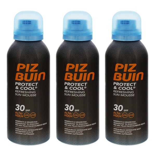3x PIZ BUIN Protect & Cool Sonnenschutz Schaum LSF 30 je 150ml