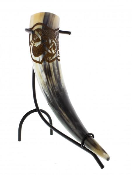 Trinkhorn Fafnir mit eingebranntem Drachenmotiv 0,5 Liter