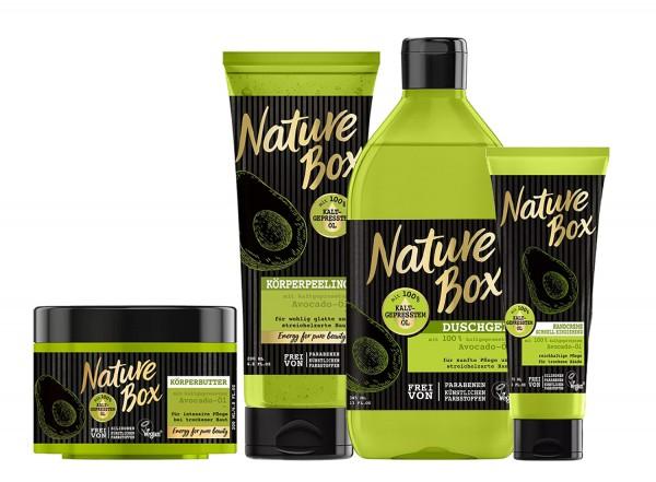 Nature Box Avocado-Öl Duschgel 385ml, Körperpeeling 200ml, Körperbutter 200ml & Handcreme 75ml