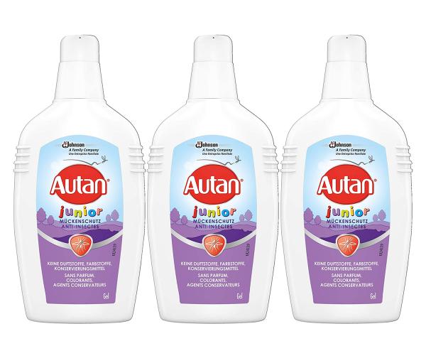 3 x Autan Junior Mückenschutz Gel für Kinder ab 2 Jahren je 100ml