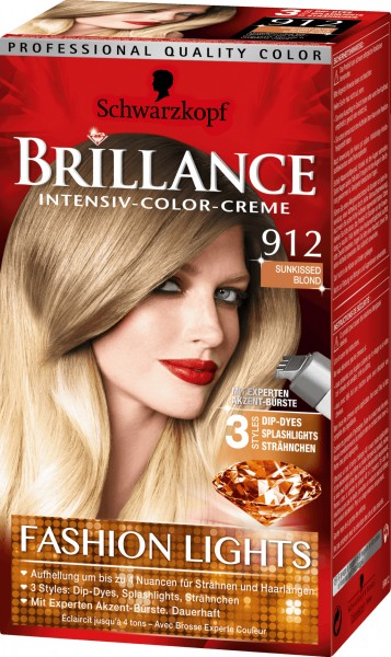 3x Schwarzkopf Brillance Haarfarbe 912 Sunkissed Blond