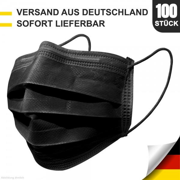 100 x Atemschutz Masken Mundschutz Hygienemaske 3 Lagig Einwegmaske Schwarz